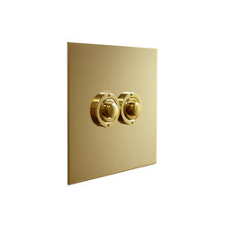 Unlacquered Brass two gang button dimmer | interuttori pulsante | Forbes & Lomax