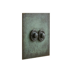 Verdigris two gang button dimmer | interuttori pulsante | Forbes & Lomax