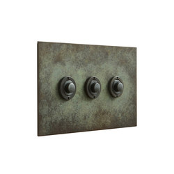 Verdgris three gang button dimmer | interuttori pulsante | Forbes & Lomax