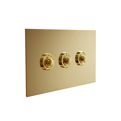 Unlacquered Brass three gang button dimmer | Push-button switches | Forbes & Lomax