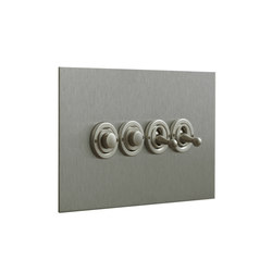 Stainless Steel four gang dolly and button dimmer | interuttori pulsante | Forbes & Lomax