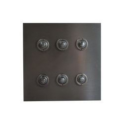 Six gang Antique Bronze button dimmer | Push-button switches | Forbes & Lomax