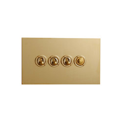 Unlacquered Brass four gang dolly and button dimmer | Toggle switches | Forbes & Lomax