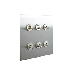 Stainless Steel six gang dolly switch | Interruttori leva | Forbes & Lomax