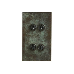 Verdigris four gang vertical dolly switch | Interrupteurs à levier | Forbes & Lomax
