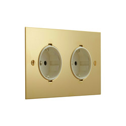 Unlacquered Brass double German socket | Schuko sockets | Forbes & Lomax