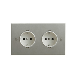 Stainless Steel double German socket | Schuko-Stecker | Forbes & Lomax