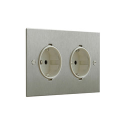 Stainless Steel double German socket | Enchufes Schuko | Forbes & Lomax
