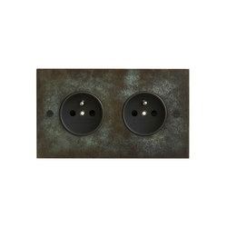 Verdigris double French socket | Schuko-Stecker | Forbes & Lomax