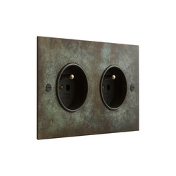Verdigris double French socket | Schuko sockets | Forbes & Lomax
