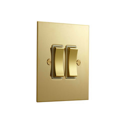 Unlacquered Brass two gang rocker switch | Wippschalter | Forbes & Lomax