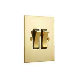 Unlacquered Brass two gang rocker with black insert | Two-way switches | Forbes & Lomax