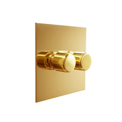 Unlacquered Brass two gang rotary dimmer | Interruttori manopola | Forbes & Lomax