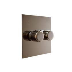 Nickel Silver two gang rotary dimmer | Interruptores rotatorios | Forbes & Lomax