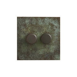 Verdigris two gang rotary dimmer | Interruptores rotatorios | Forbes & Lomax