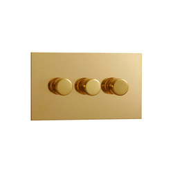 Unlacquered Brass three gang rotary dimmer | Rotary switches | Forbes & Lomax
