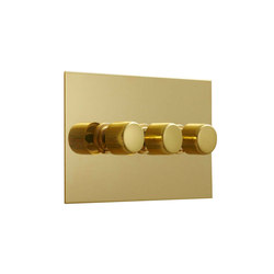 Unlacquered Brass three gang rotary dimmer | Interruttori manopola | Forbes & Lomax