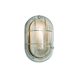 Oval Aluminium Bulkhead, with Guard for GLS Painted Silver | General lighting | Original BTC