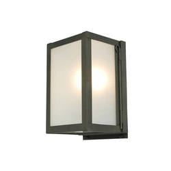 7643 Miniature Box Wall Light, Internally Glass, Weather Brass, Frosted | Wall lights | Original BTC