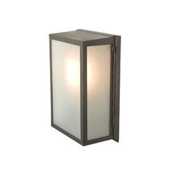 7644 Box Wall Light, Internally Glass, Small, Weathered Brass, Frosted | Wall lights | Original BTC