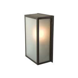 7645 Box Wall Light, Internally Glass, Medium, Weathered Brass, Frosted | Wall lights | Original BTC