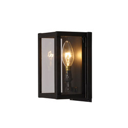 7643 Miniature Box Wall Light, Internally Glass, Weathered Brass, Clear | Wall lights | Original BTC