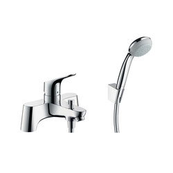 hansgrohe Focus 2-hole rim mounted bath mixer with diverter valve and Crometta 85 1jet hand shower | Bath taps | Hansgrohe