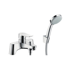 hansgrohe Metris 2-hole rim mounted bath mixer with diverter valve and Croma 100 Vario hand shower | Bath taps | Hansgrohe