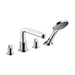 hansgrohe Metris S 4-hole rim mounted bath mixer with spout 220 mm | Bath taps | Hansgrohe