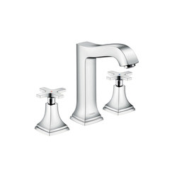 hansgrohe Metropol Classic 3-hole basin mixer 160 with cross handle, with pop-up waste set | Wash-basin taps | Hansgrohe