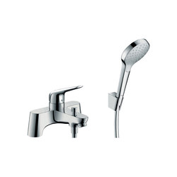 hansgrohe Novus 2-hole rim mounted bath mixer with diverter valve and Croma Select 1jet hand shower | Bath taps | Hansgrohe