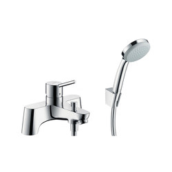 hansgrohe Talis 2-hole rim mounted bath mixer with diverter valve and Croma 100 1jet hand shower | Bath taps | Hansgrohe