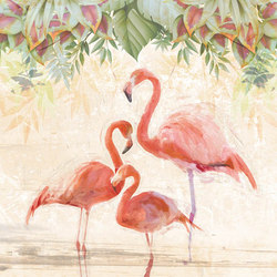 FLAMINGOS PARTY | Carta da parati / carta da parati | WallPepper