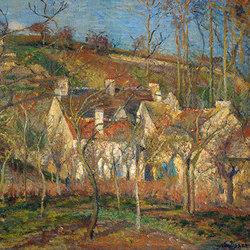 Les toits rouges | coin de village | effet d'hiver | Carta da parati / carta da parati | WallPepper