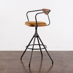 AKRON BAR STOOL WITH BACKREST & LEATHER SEAT | Sgabelli bancone | District Eight