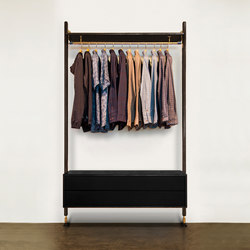 THEO WALL UNIT CLOTHING RAIL WITH DRAWER | Percheros | District Eight