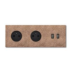 Power USB outlet - Fer Forgé rosé 3 Gang | Schuko sockets | Basalte