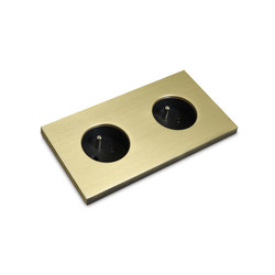 Power outlet - brass - 2-gang | Schuko sockets | Basalte