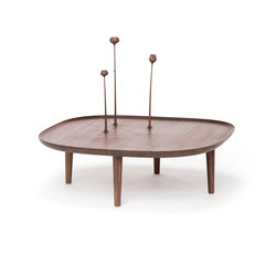 Fiori Table 80cm with Hand Carved Flowers – Walnut | Couchtische | Poiat