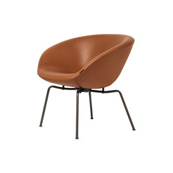 Pot™ | Leather, dark brown powder coated base | Lounge chairs | Fritz Hansen