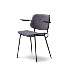 Søborg Steel Base Armchair - seat and back upholstered | Sedie visitatori | Fredericia Furniture