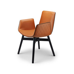 Amelie | Armchair High mit Holz mit Kreuzzarge | Stühle | FREIFRAU MANUFAKTUR