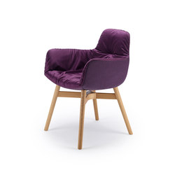 Leya | Armchair High with wooden frame with cross | Chairs | FREIFRAU MANUFAKTUR