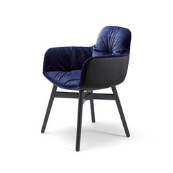 Leya | Armchair High with wooden frame with cross | Chaises | FREIFRAU MANUFAKTUR