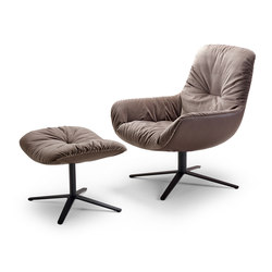 Leya | Lounge Chair with x-base frame & Ottoman | Poltrone | FREIFRAU MANUFAKTUR