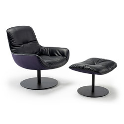 Leya | Lounge Chair with central leg & Ottoman | Poltrone | FREIFRAU MANUFAKTUR
