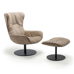 Leya | Wingback Chair with central leg & Ottoman | Sillones | FREIFRAU MANUFAKTUR