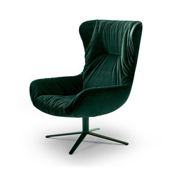 Leya | Wingback Chair with x-base frame | Sillones | FREIFRAU MANUFAKTUR