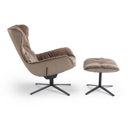 Leya | Wingback Chair with x-base frame with rocker / tilting mechanism & Ottoman | Fauteuils | Freifrau Sitzmöbelmanufaktur