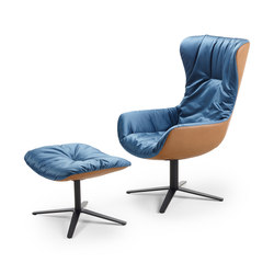 Leya | Wingback Chair with x-base frame & Ottoman | Poltrone | Freifrau Sitzmöbelmanufaktur